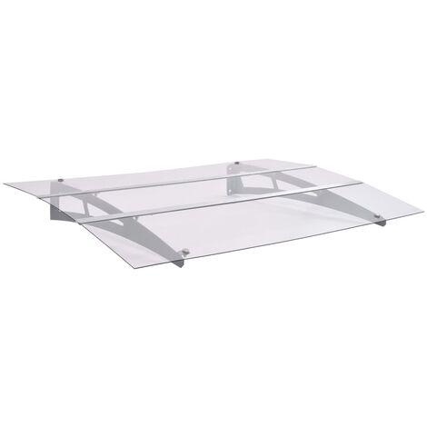 vidaXL Marquesina de puerta policarbonato plata transparente 120x90 cm - Transparente