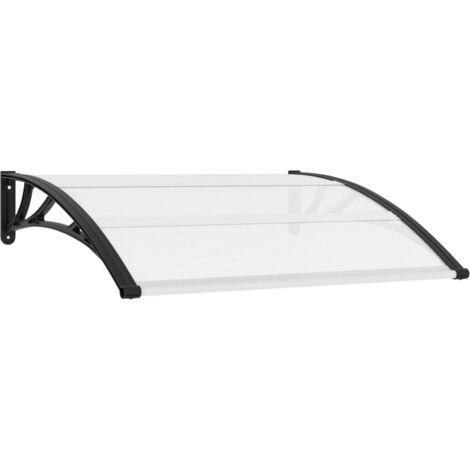 vidaXL Marquesina para puerta PC negro y transparente 120x80 cm - Transparente