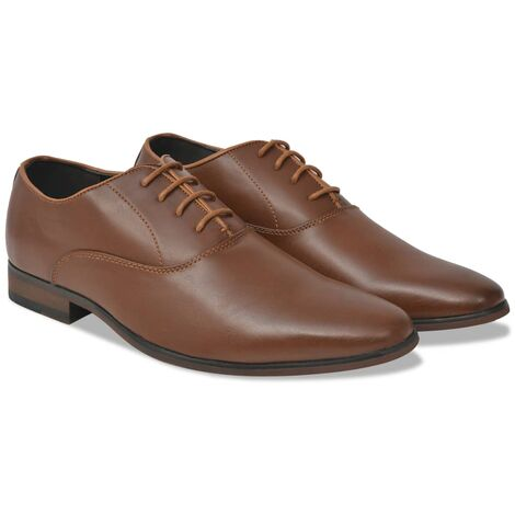 vidaXL Men's Business Shoes Lace-Up Brown Size 8.5 PU Leather - Brown