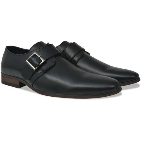 vidaXL Men's Monk Strap Shoes Black Size 10.5 PU Leather - Black