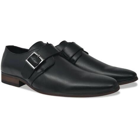 vidaXL Men's Monk Strap Shoes Black Size 8.5 PU Leather - Black
