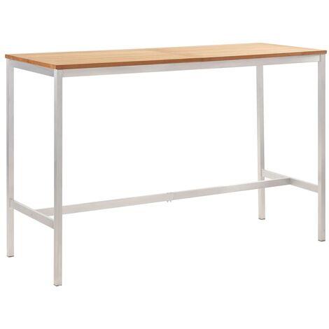 vidaXL Mesa alta de cocina madera teca y acero inoxidable 160x60x105cm - Marrón