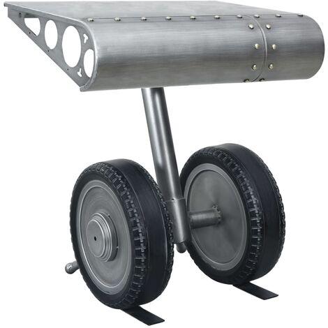 vidaXL Mesa auxiliar con ruedas hierro plata y negro 53x40x60 cm - Plateado
