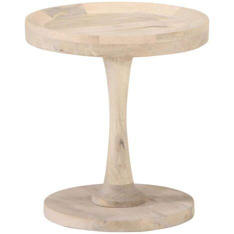 vidaXL Mesa auxiliar de madera maciza de mango Ø40x45 cm - Marrón