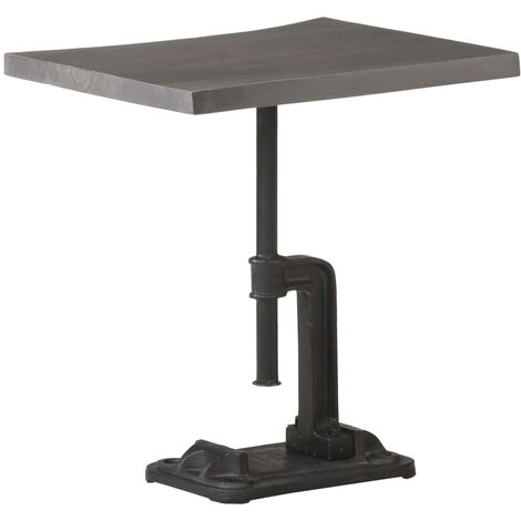 vidaXL Mesa auxiliar madera acacia y hierro fundido gris 45x35x48 cm - Gris
