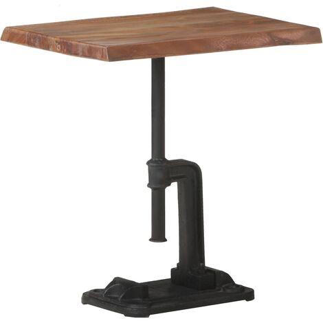 vidaXL Mesa auxiliar madera acacia y hierro fundido marrón 45x35x49 cm - Marrón