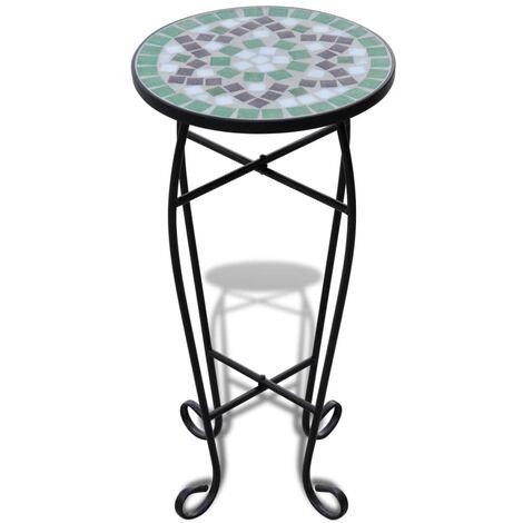 vidaXL Mesa auxiliar mosaico para plantas verde y blanca - Verde