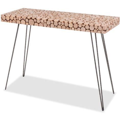 vidaXL Mesa consola de madera de abeto genuina 100,5x36,8x75 cm - Marrón