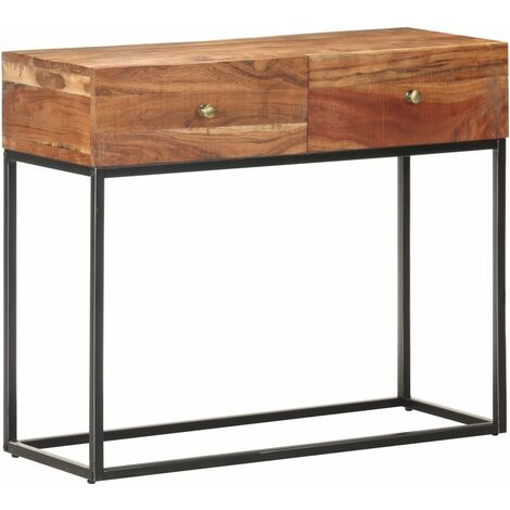 vidaXL Mesa consola de madera de acacia rugosa 90x35x75 cm - Marrón