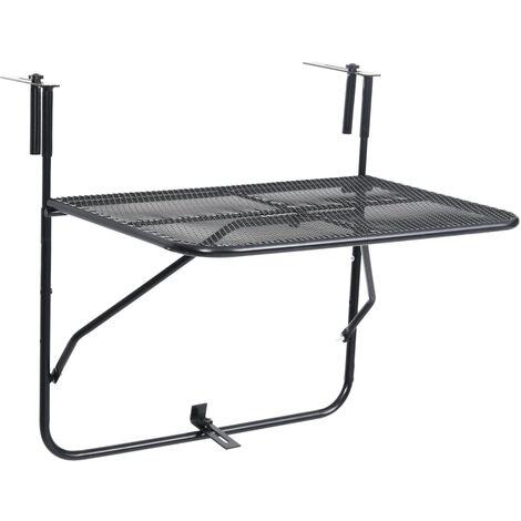 vidaXL Mesa de balcón de acero negro 60x40 cm - Negro