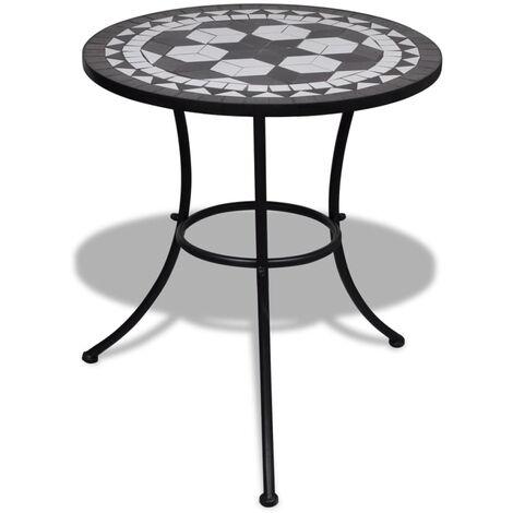 vidaXL Mesa de bistro terraza mosaico negro y blanco 60 cm - Negro