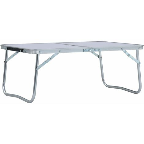 vidaXL Mesa de camping plegable aluminio blanca 60x40 cm - Blanco