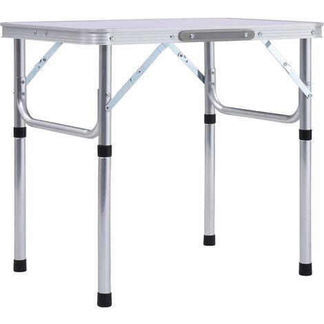vidaXL Mesa de camping plegable aluminio blanco 60x45 cm - Blanco