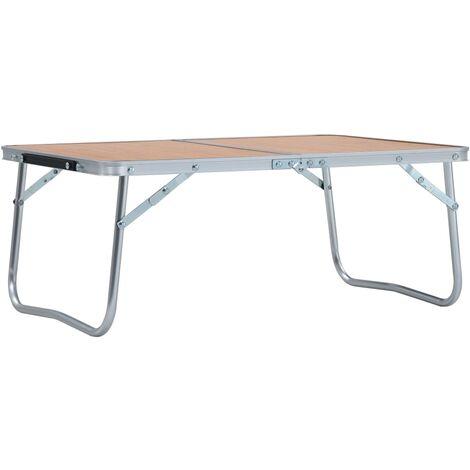 vidaXL Mesa de camping plegable aluminio marrón 60x40 cm - Marrón