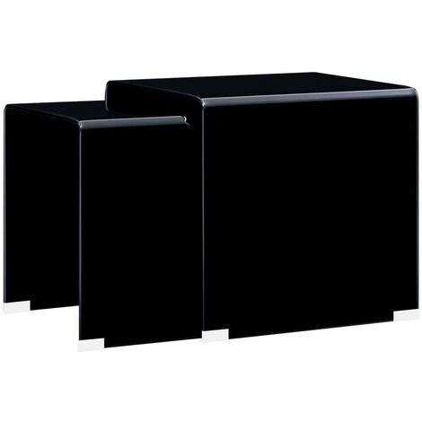 vidaXL Mesa de Centro Apilable Mobiliario Salón Dormitorio Elegante Moderno Multifuncionales Resistentes Vidrio Templado 2/3 Piezas Multicolor