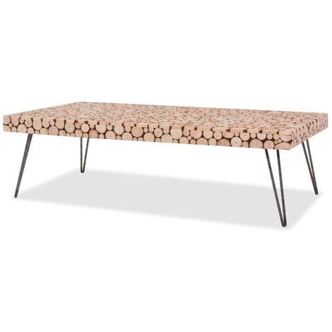 vidaXL Mesa de centro de madera de abeto genuina 120,5x60,5x35 cm - Marrón