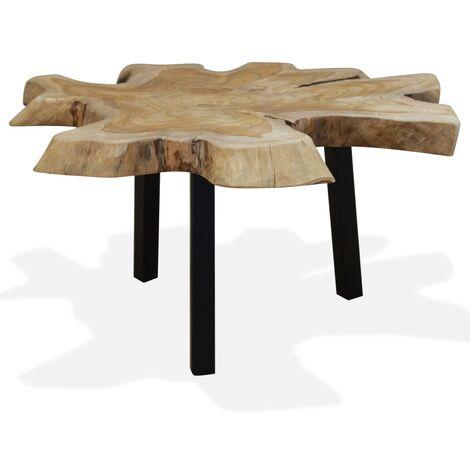 vidaXL Mesa de centro de madera de teca genuina 80x70x38 cm - Marrón
