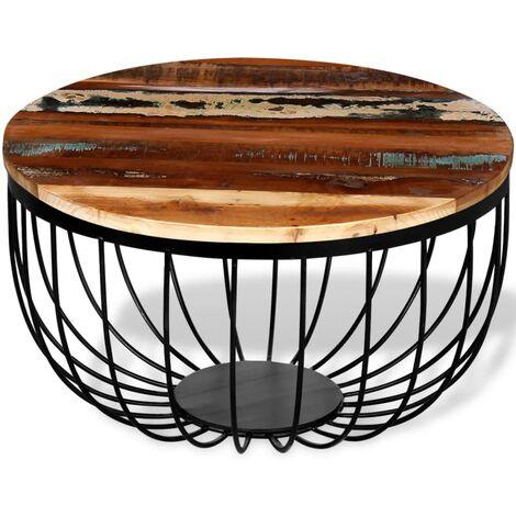 vidaXL Mesa de centro de madera reciclada maciza - Marrón