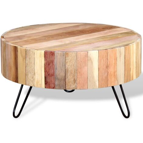 vidaXL Mesa de centro madera reciclada maciza - Beige