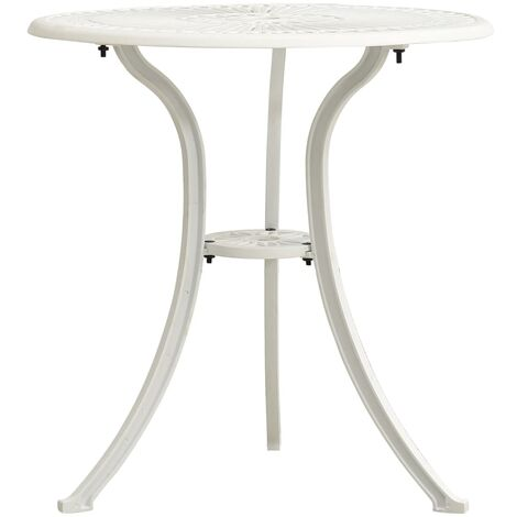 vidaXL Mesa de jardín aluminio fundido blanco 62x62x65 cm - Blanco