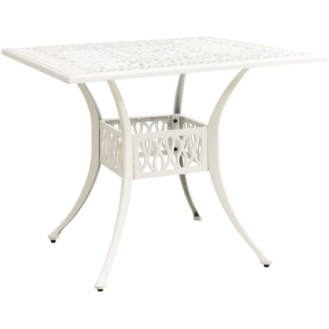 vidaXL Mesa de jardín aluminio fundido blanco 90x90x73 cm - Blanco