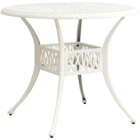 vidaXL Mesa de jardín aluminio fundido blanco 90x90x74 cm - Blanco