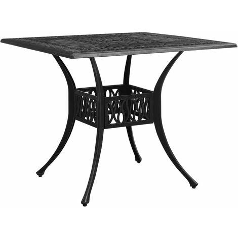 vidaXL Mesa de jardín aluminio fundido negro 90x90x73 cm - Negro