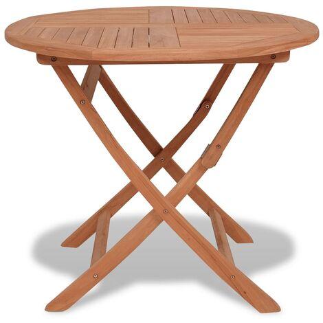 vidaXL Mesa de jardín plegable madera de teca maciza 85x76 cm - Marrone