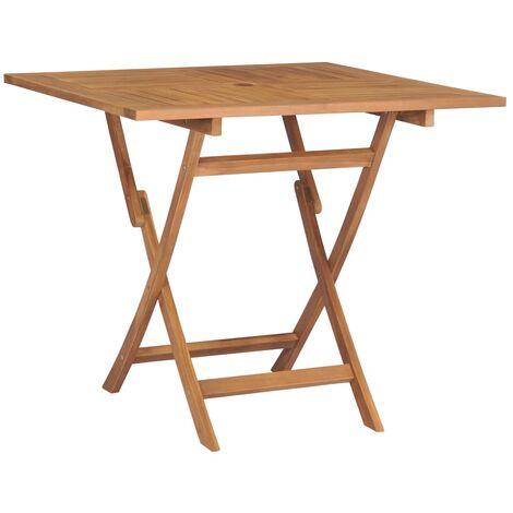 vidaXL Mesa de jardín plegable madera de teca maciza 85x85x76 cm - Marrone