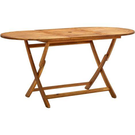 vidaXL Mesa de jardín plegable madera maciza de acacia 160x85x75 cm - Marrón