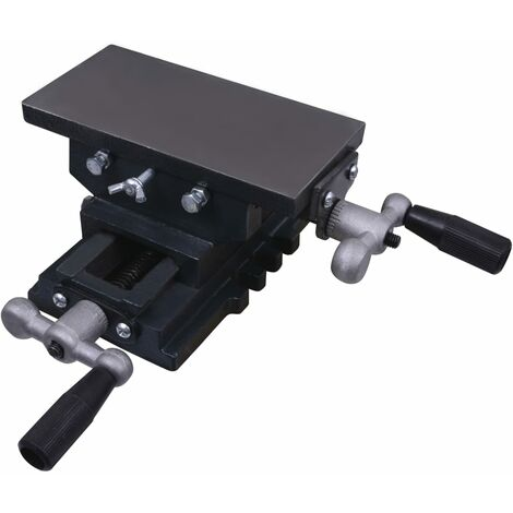 vidaXL Mesa de tornillo de banco manual carro transversal