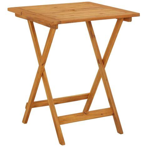vidaXL Mesa plegable de jardín de madera maciza de acacia 60x60x75 cm - Marrón
