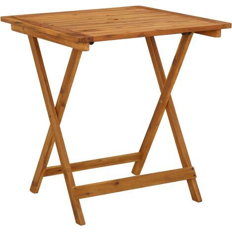 vidaXL Mesa plegable de jardín de madera maciza de acacia 70x70x75 cm - Marrone