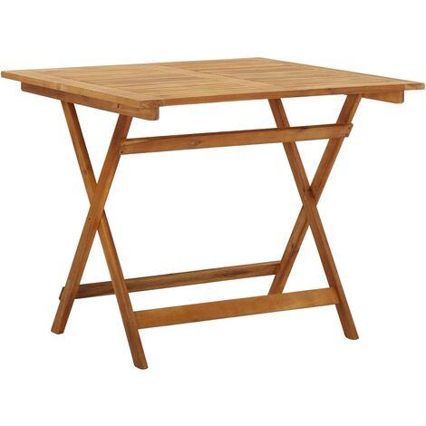 vidaXL Mesa plegable de jardín de madera maciza de acacia 90x90x75 cm - Marrón