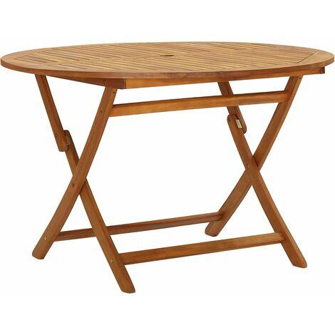 vidaXL Mesa plegable de jardín madera maciza de acacia 120 cm - Marrón