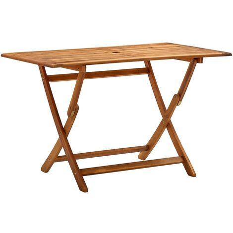 vidaXL Mesa plegable de jardín madera maciza de acacia 120x70x75 cm - Marrón
