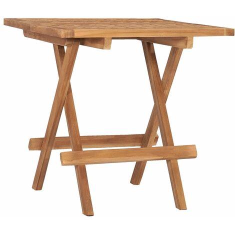 vidaXL Mesa plegable de jardín madera maciza de teca 50x50x50 cm - Marrone