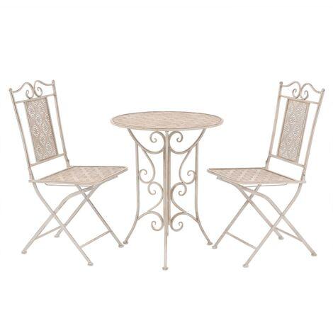 vidaXL Mesa y sillas bistró de jardín 3 piezas acero blanco - Blanco