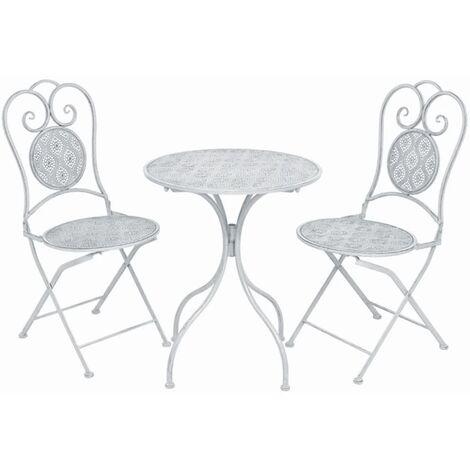 vidaXL Mesa y sillas bistró de jardín 3 piezas acero blanco grisáceo - Blanco