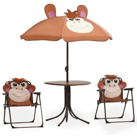 vidaXL Mesa y sillas de jardín infantil 3 piezas con sombrilla marrón - Marrón