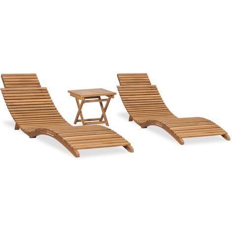 vidaXL Mesa y sillas plegables para balcón 3 pzas madera maciza teca - Marrón