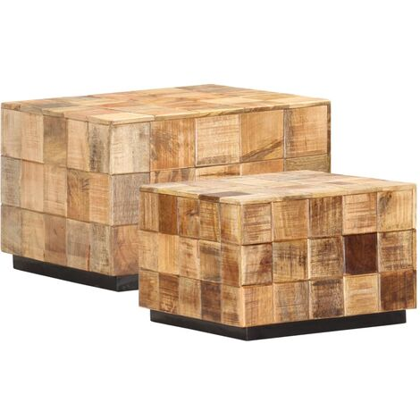 vidaXL Mesas de centro 2 pzas diseño de bloque madera mango rugosa - Marrón