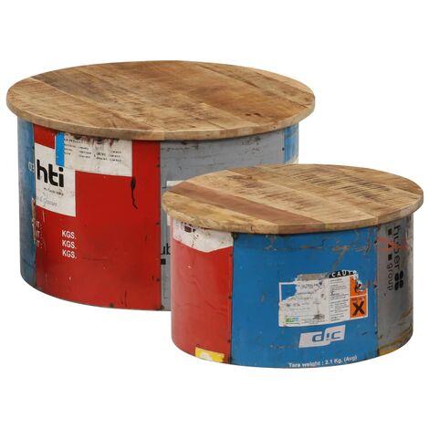 vidaXL Mesas de centro 2 unidades madera maciza de mango - Multicolor