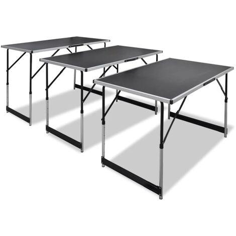 "main image of ""vidaXL Mesas de empapelar plegables de altura ajustable 3 unidades - Negro"""