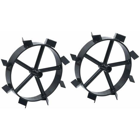 "main image of ""vidaXL Metal Wheels for 6.5 HP Petrol Tiller 2 pcs - Black"""
