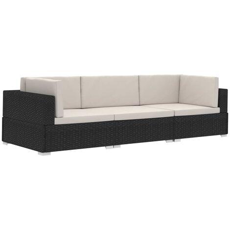 vidaXL Meubles de Jardin avec Coussins Résine Tressée Siège d'Angles Canapé à 2 Places Sofa à 2 Places Salon Maison Intérieur Multicolore