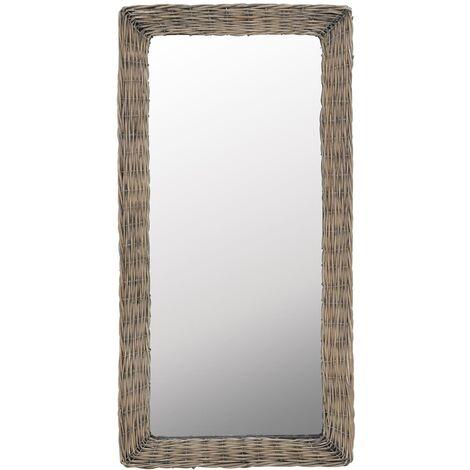 vidaXL Mirror Wicker Brown 50x100 cm - Brown