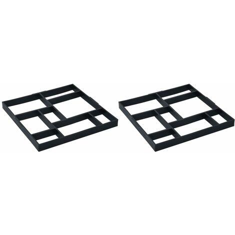 vidaXL Moldes para pavimento 2 unidades plástico 50,4x50,4x4,3 cm