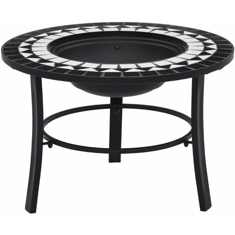 vidaXl Mosaic Fire Pit Black and White 68cm Ceramic - Black