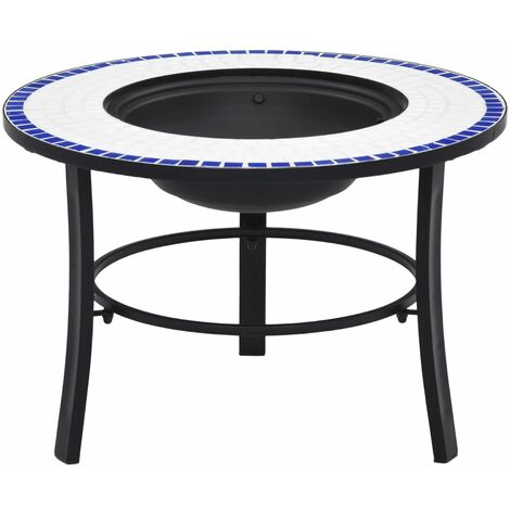 vidaXl Mosaic Fire Pit Blue and White 68cm Ceramic